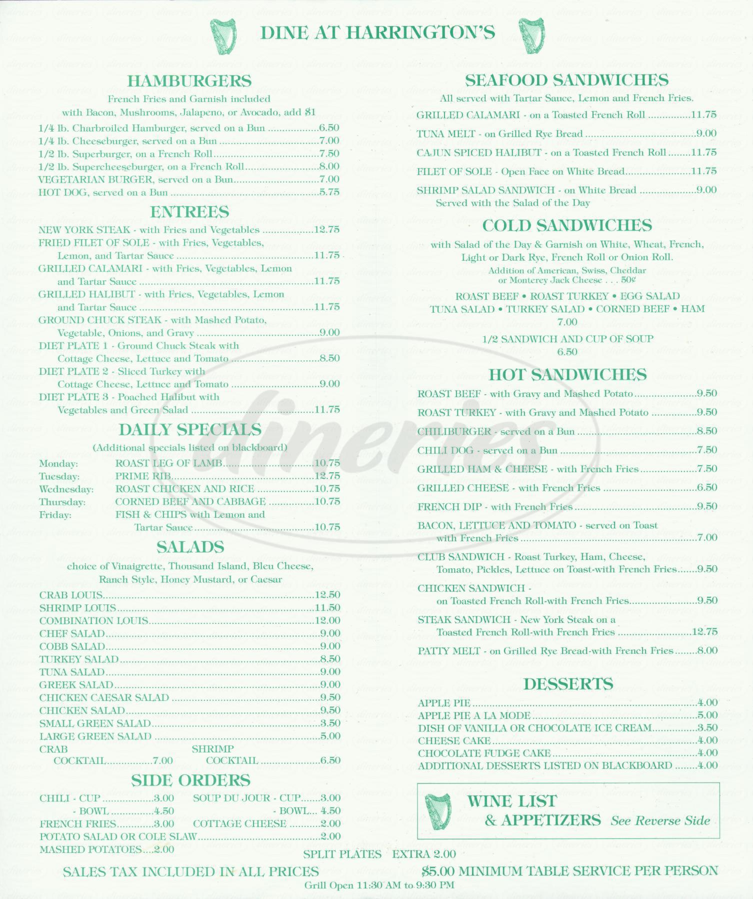 menu for Harringtons Bar & Grill