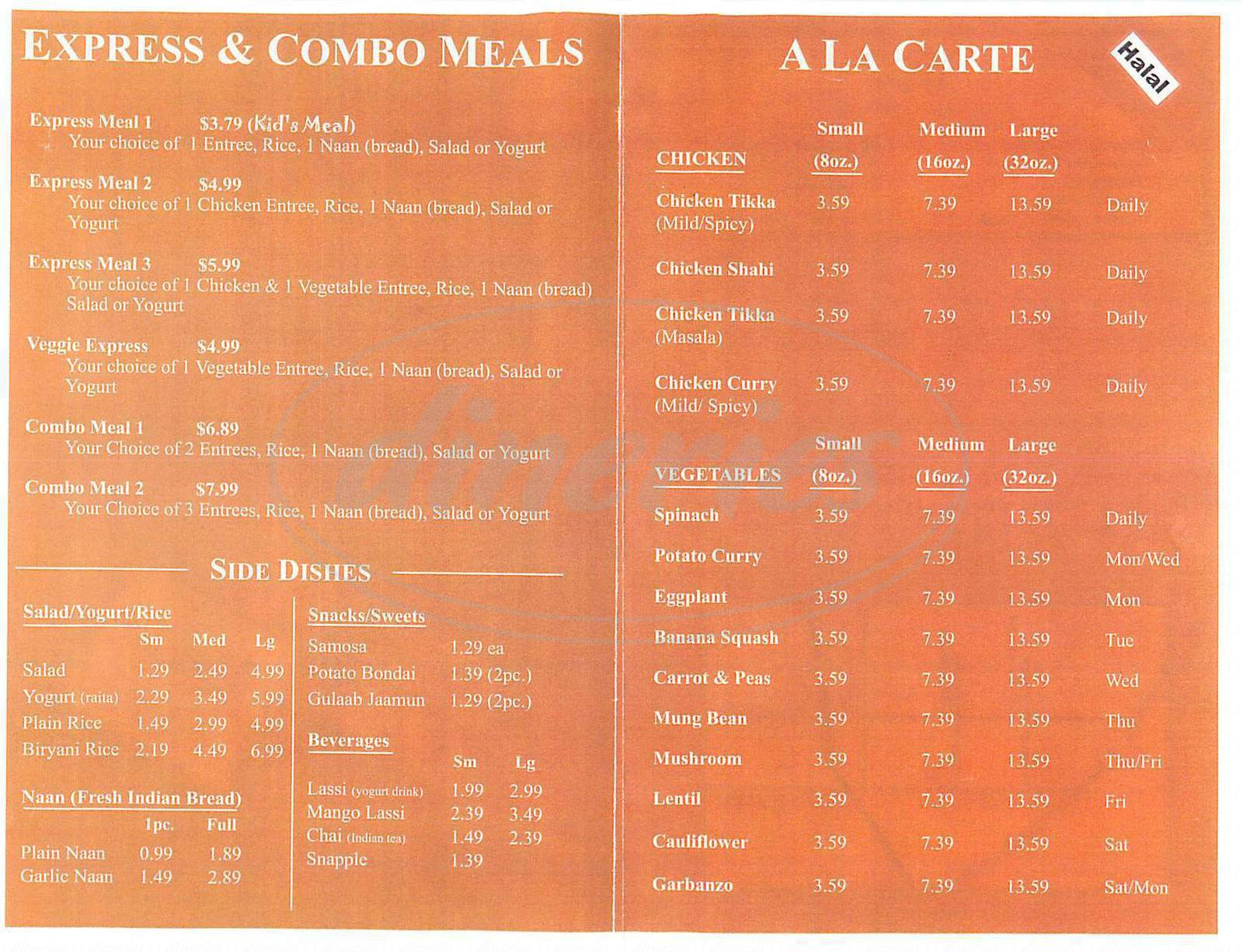 menu for Niki's Indian Cuisine
