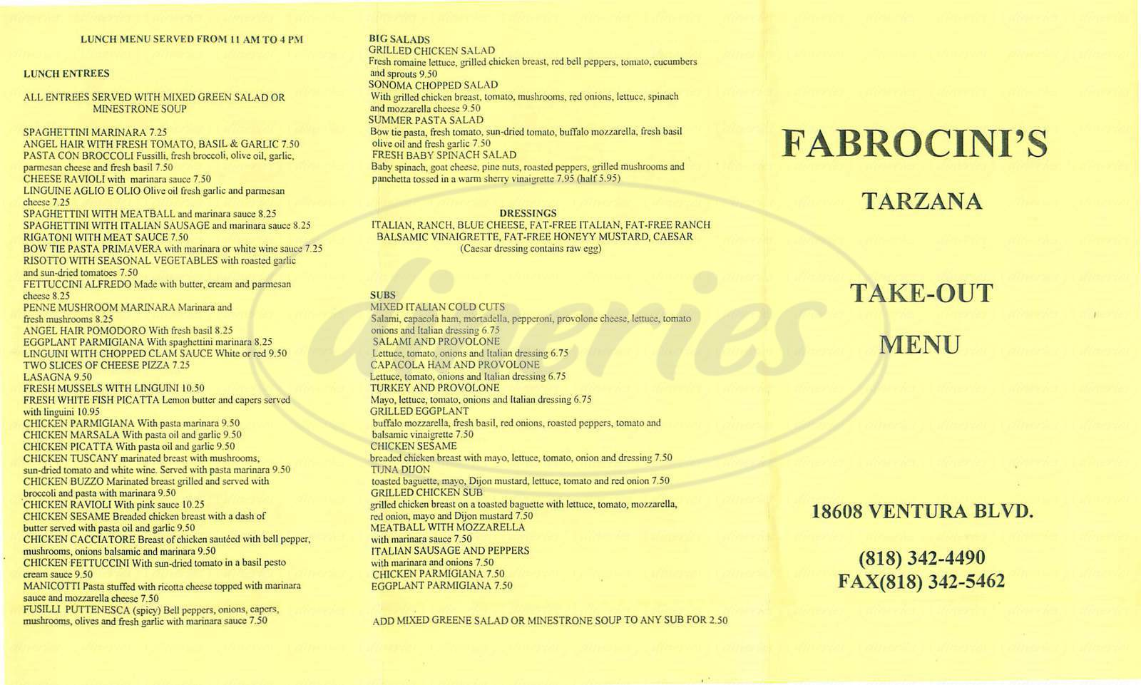 menu for Fabrocini's Italian Kitchen
