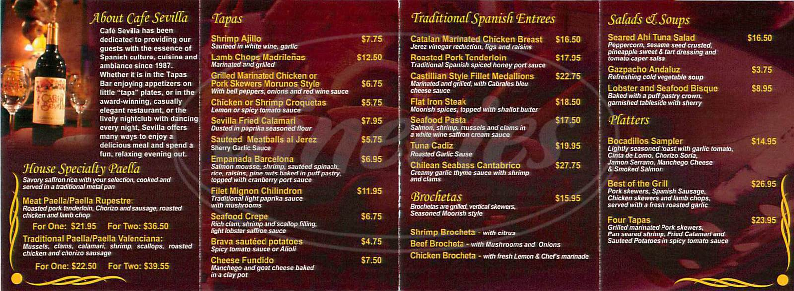 menu for Sevilla