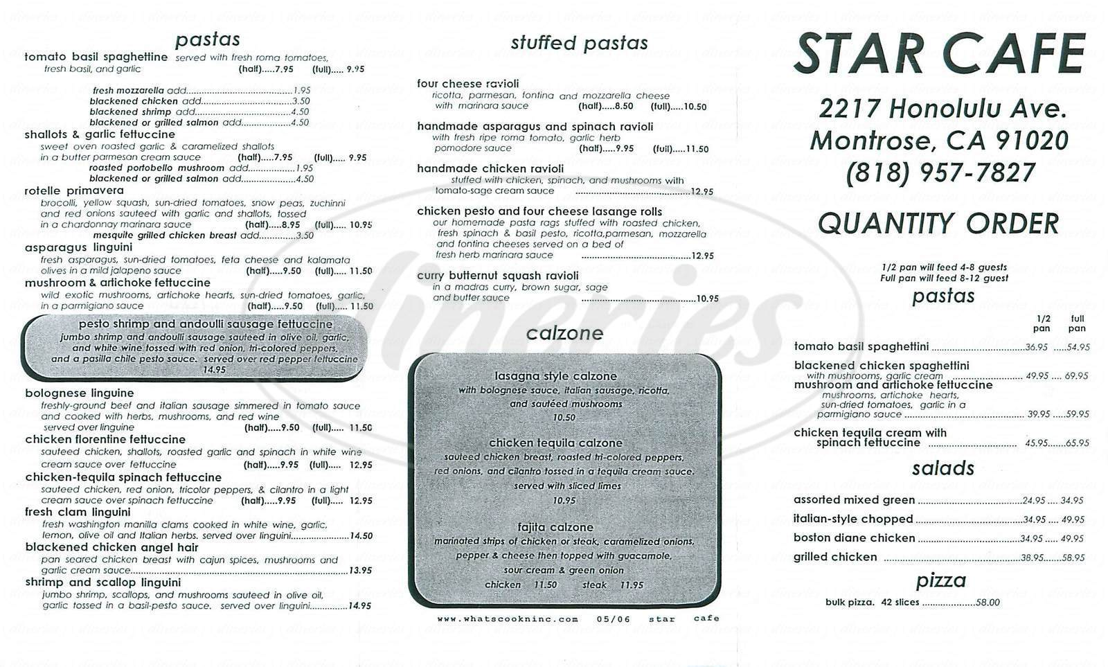 menu for Star Café