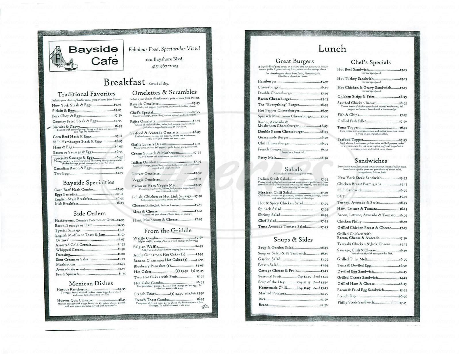 menu for Bayside Cafe
