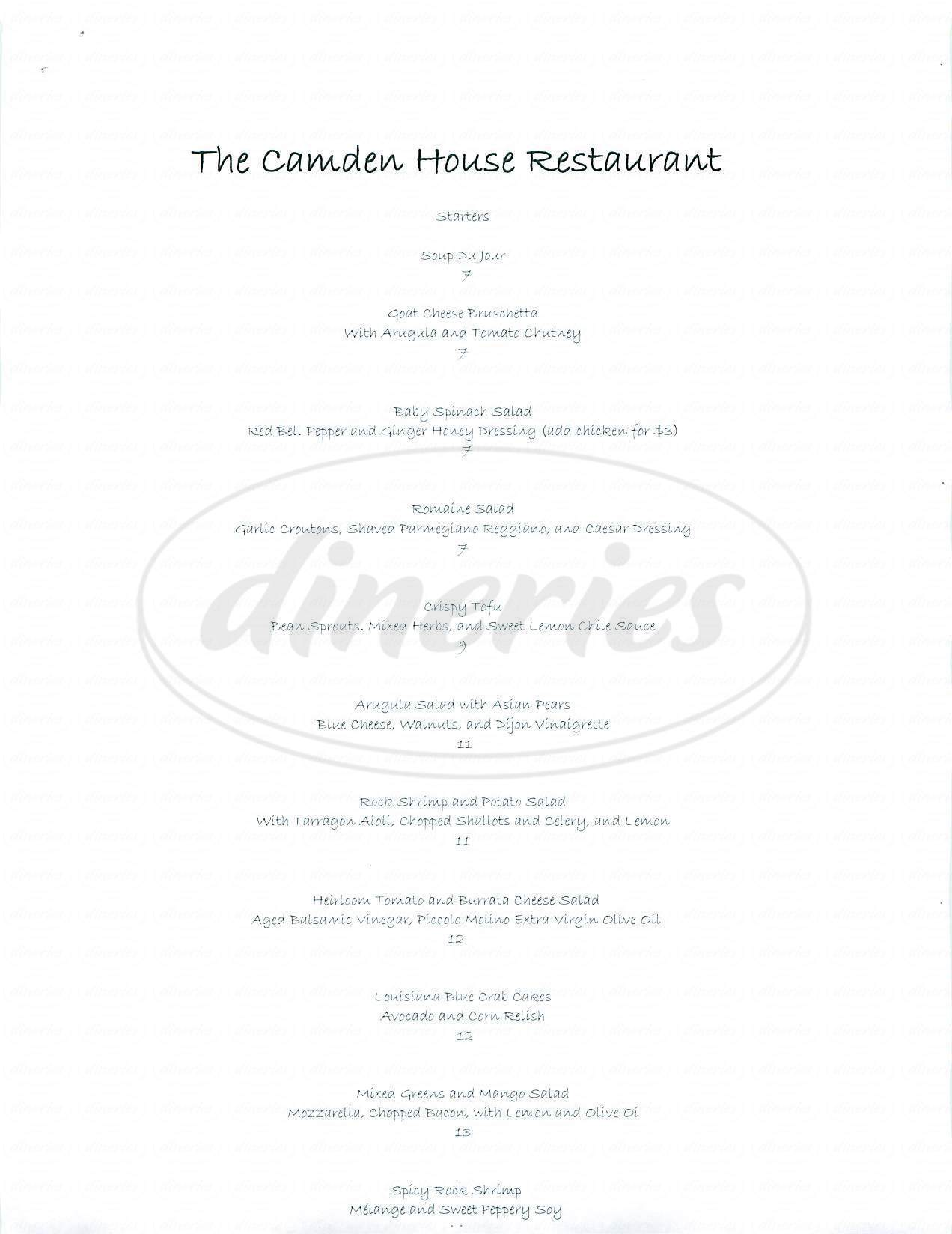 menu for The Camden House