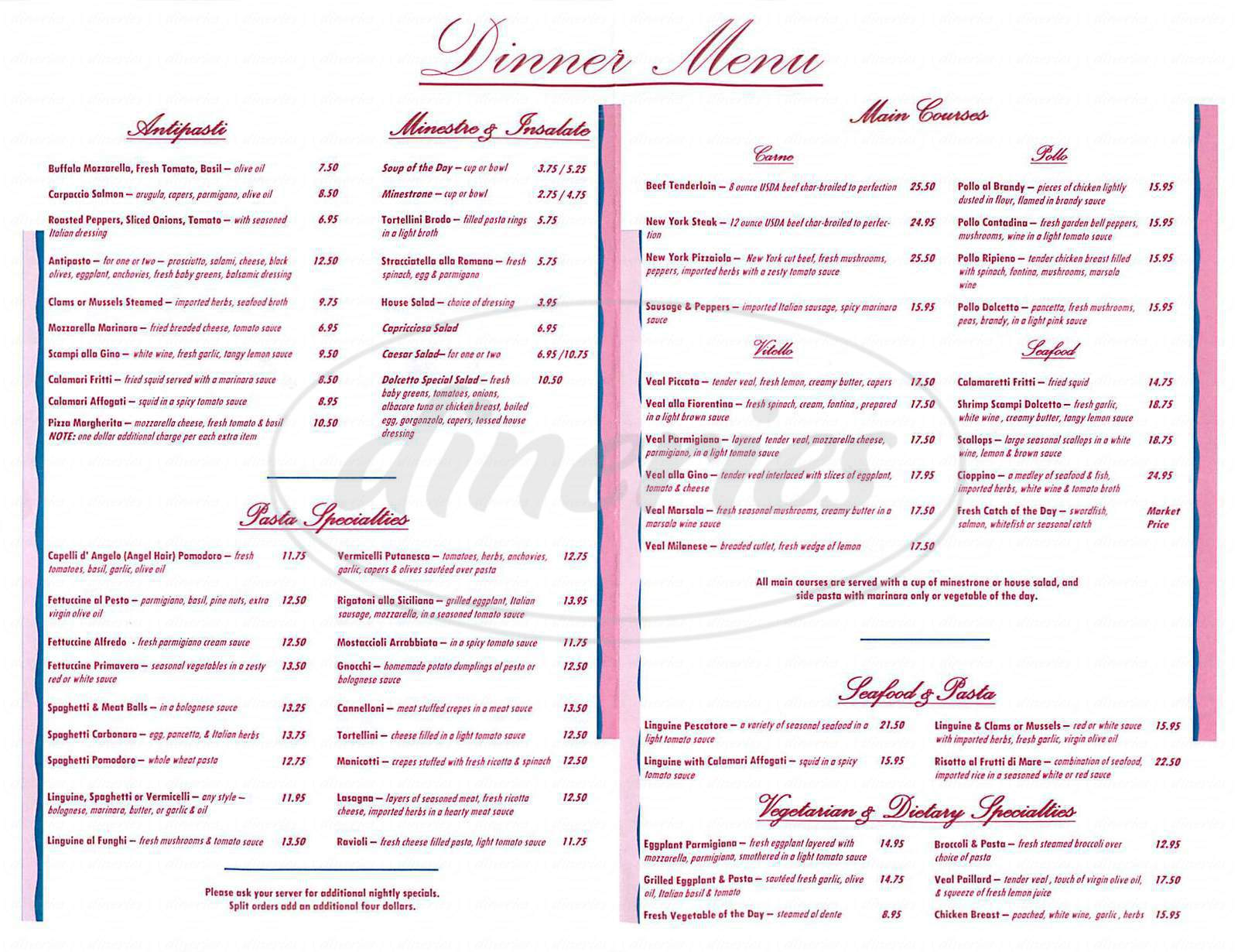 menu for Dolcetto Italian Cuisine