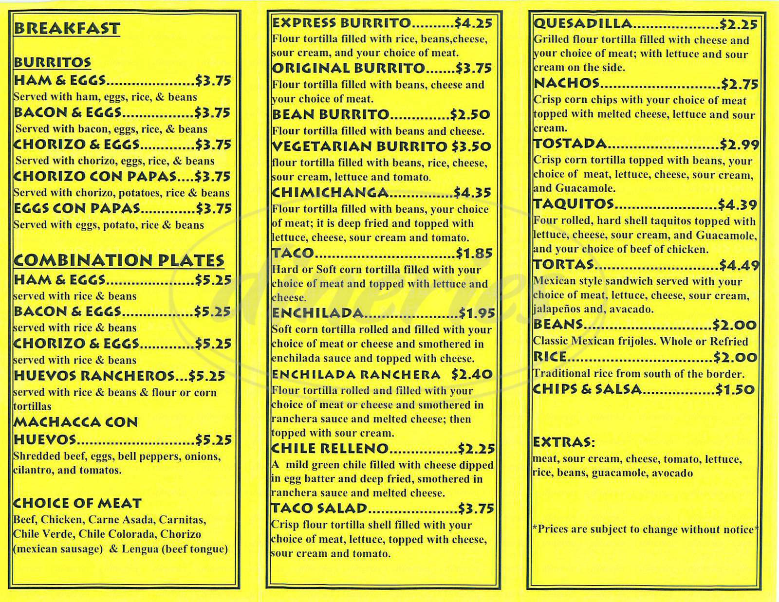 menu for Burrito Express