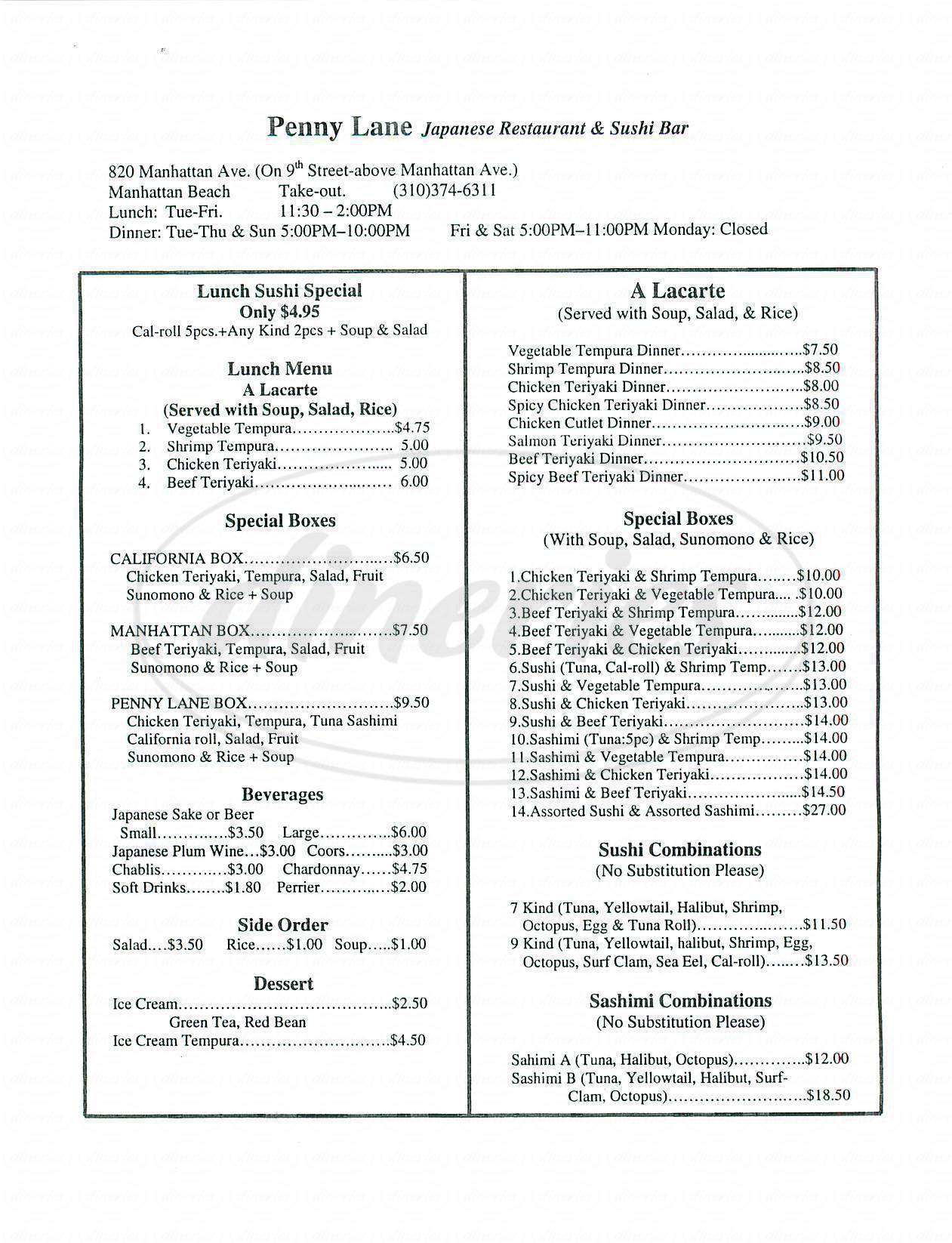 menu for Penny Lane