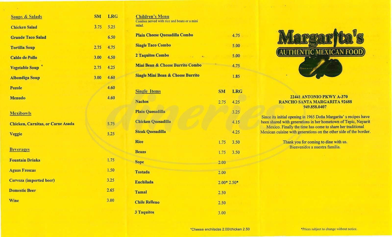 menu for Margaritas Authentic Mexican Food
