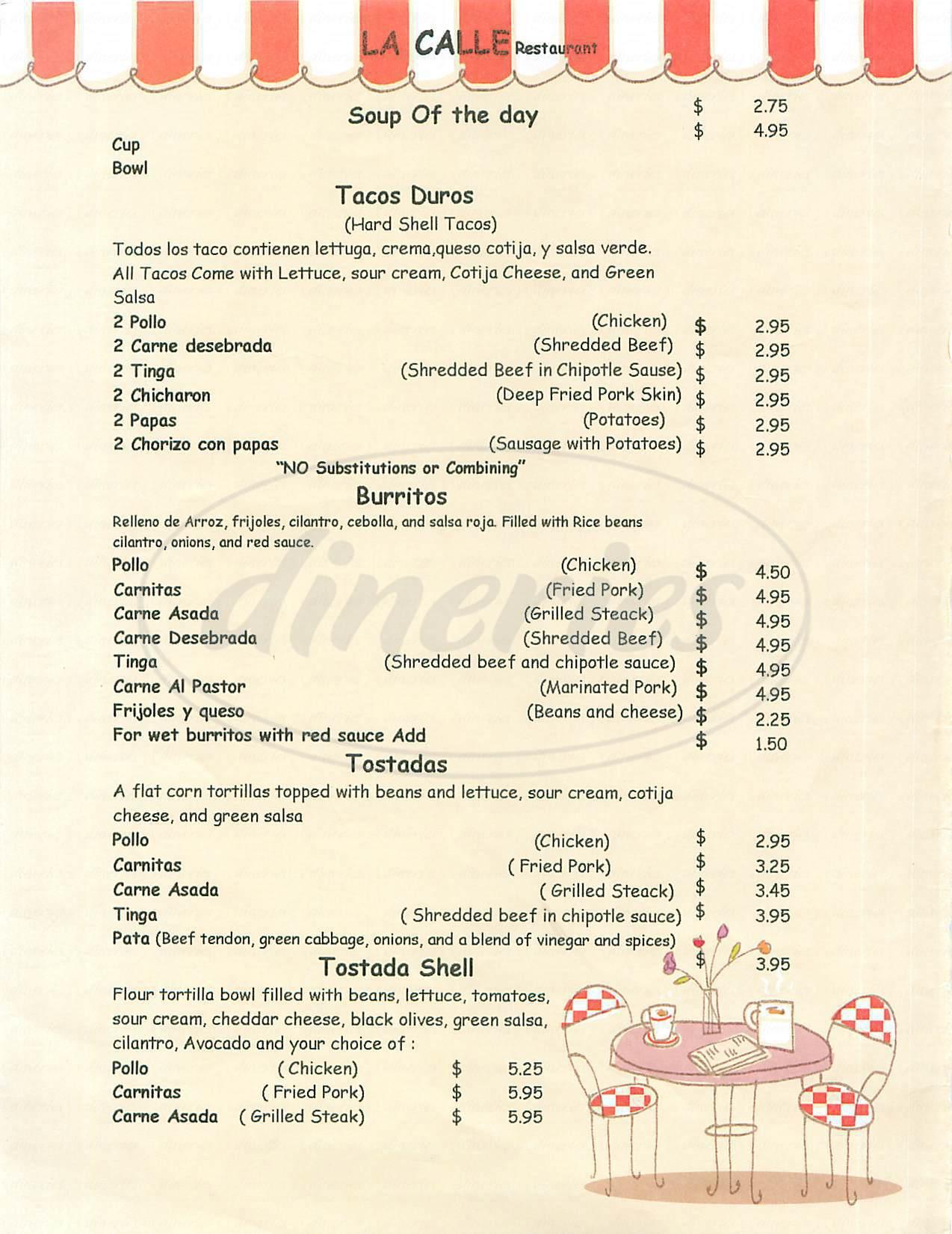 menu for La Calle