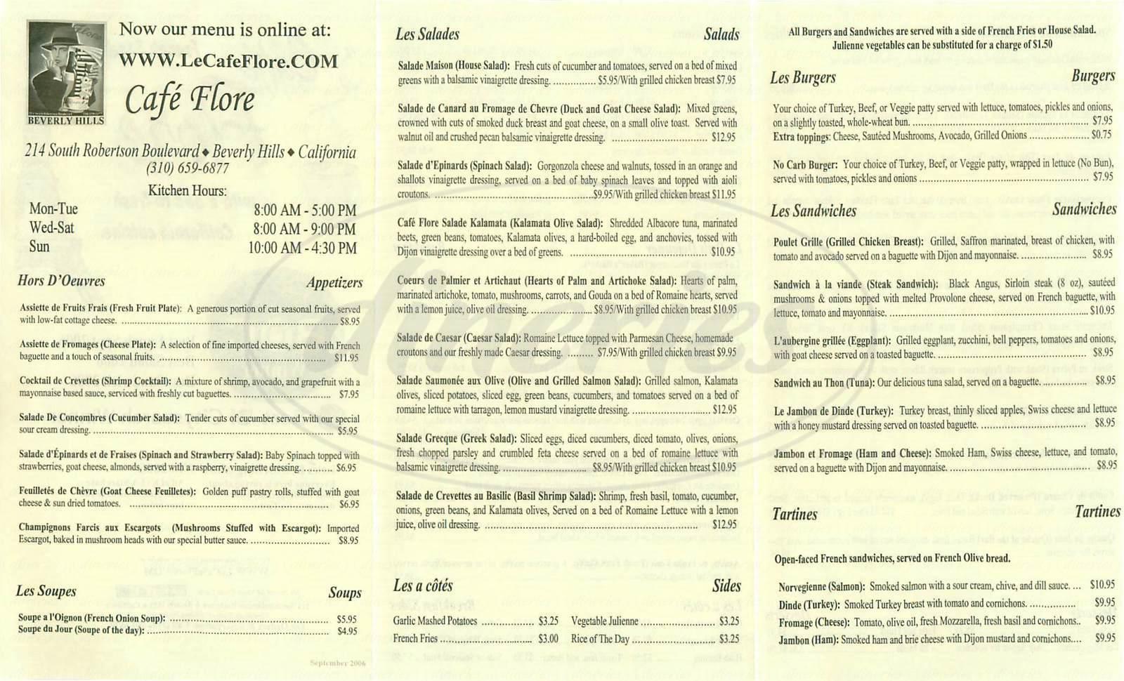 menu for Café Flore