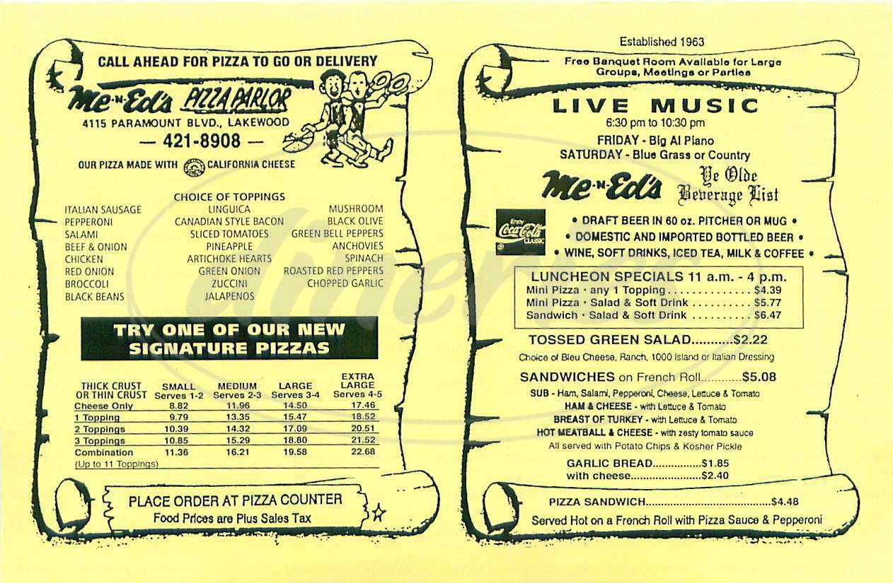 menu for Me N Ed's Pizza Parlor