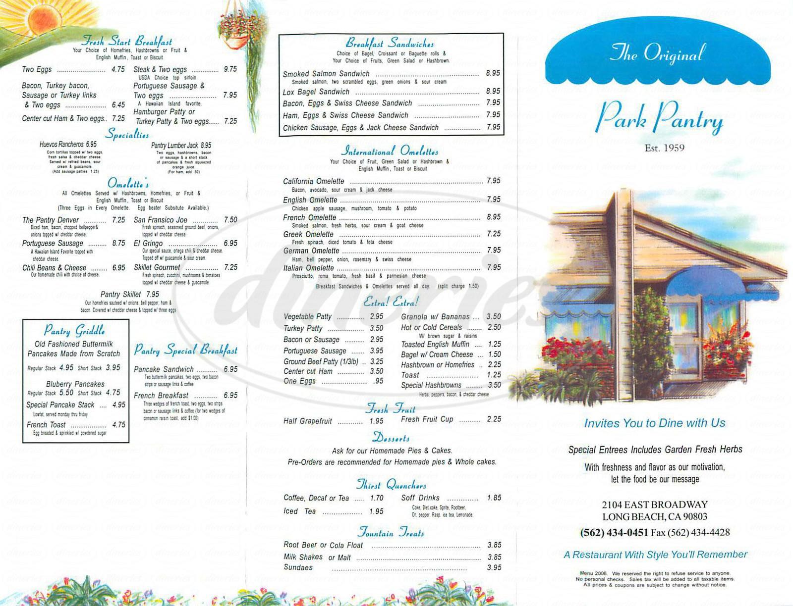 menu for The Original Park Pantry