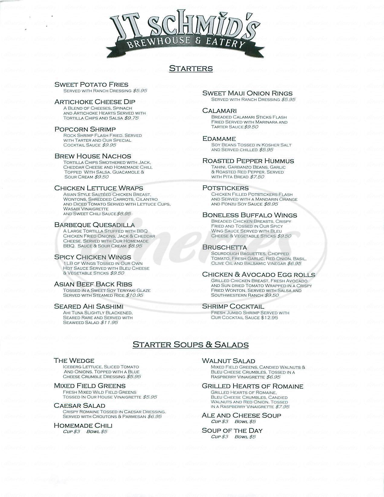 menu for JT Schmid's Restaurant & Brewery