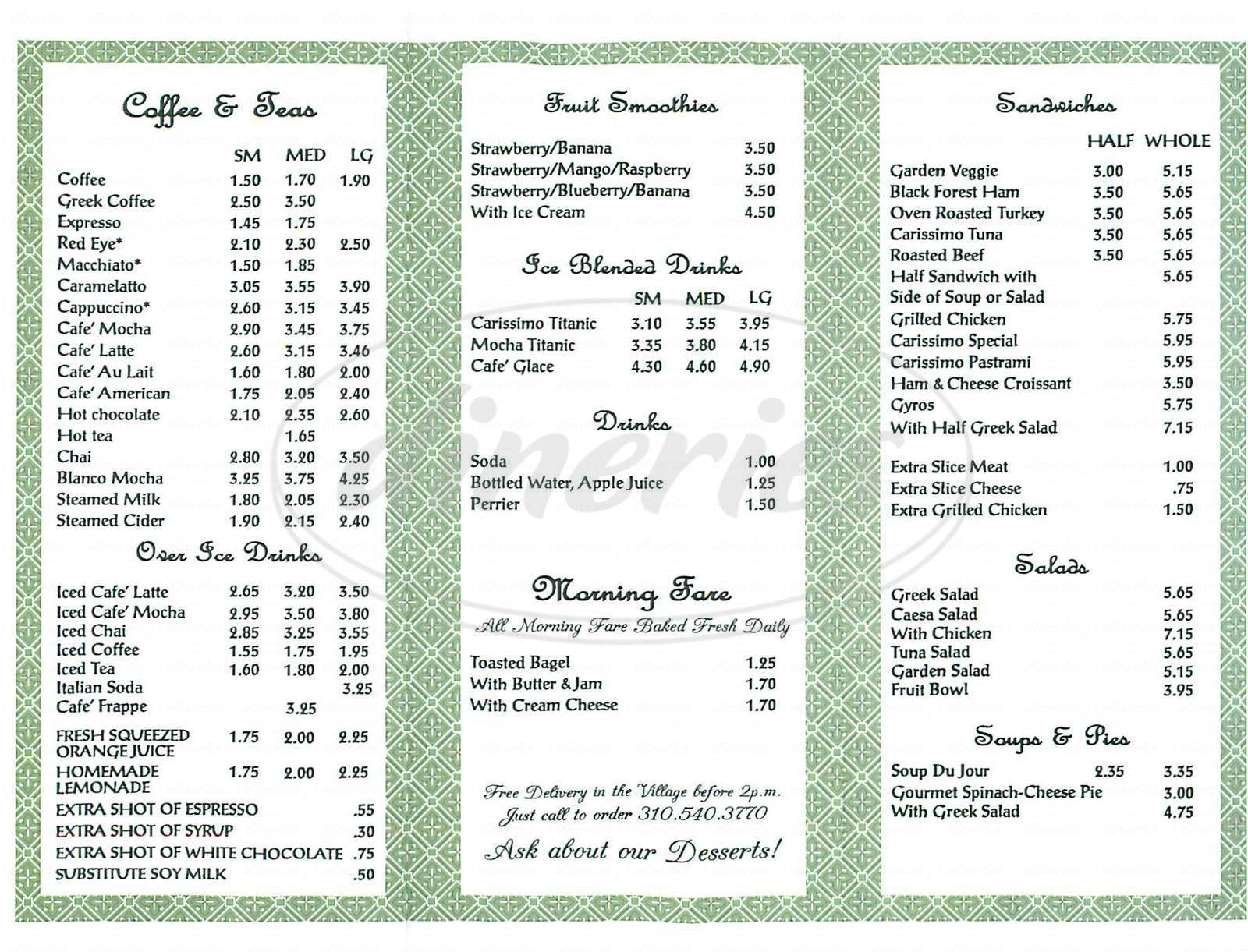 menu for Carissimo Bakery