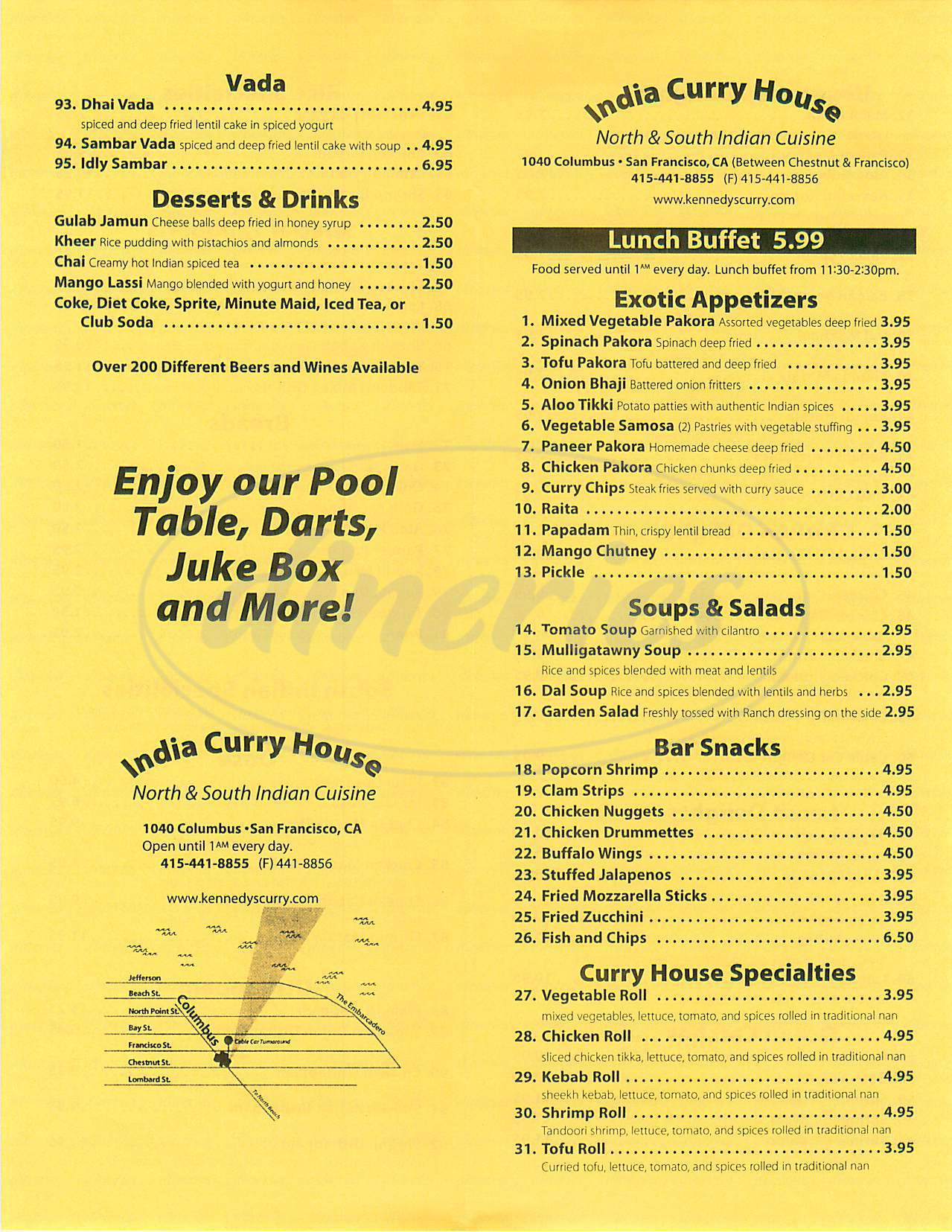 menu for India Curry House