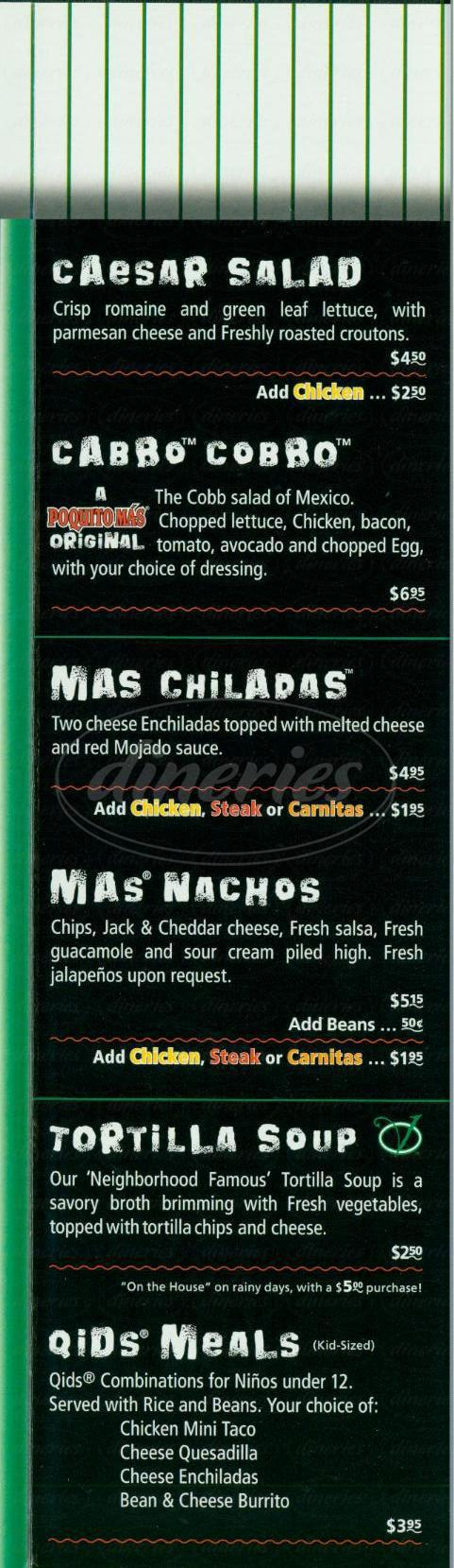 menu for Poquito Mas