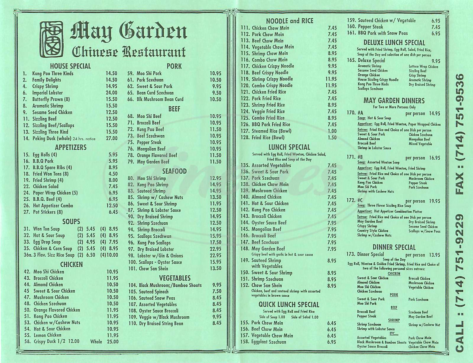 menu for May Garden