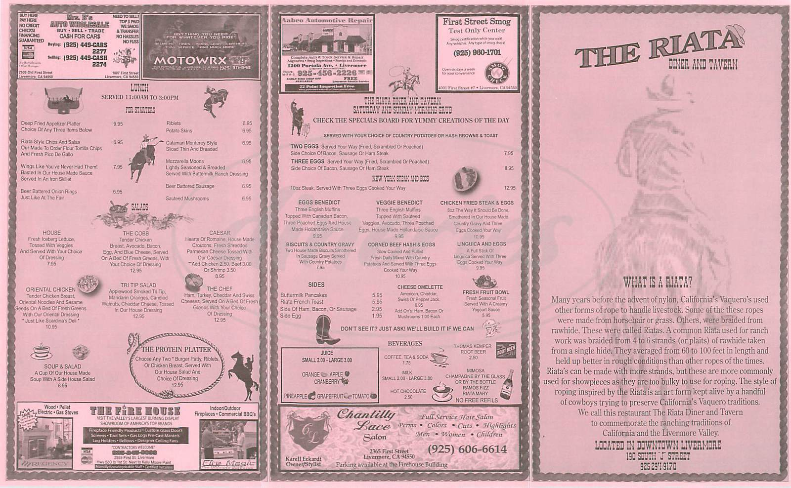 menu for The Riata Diner & Tavern