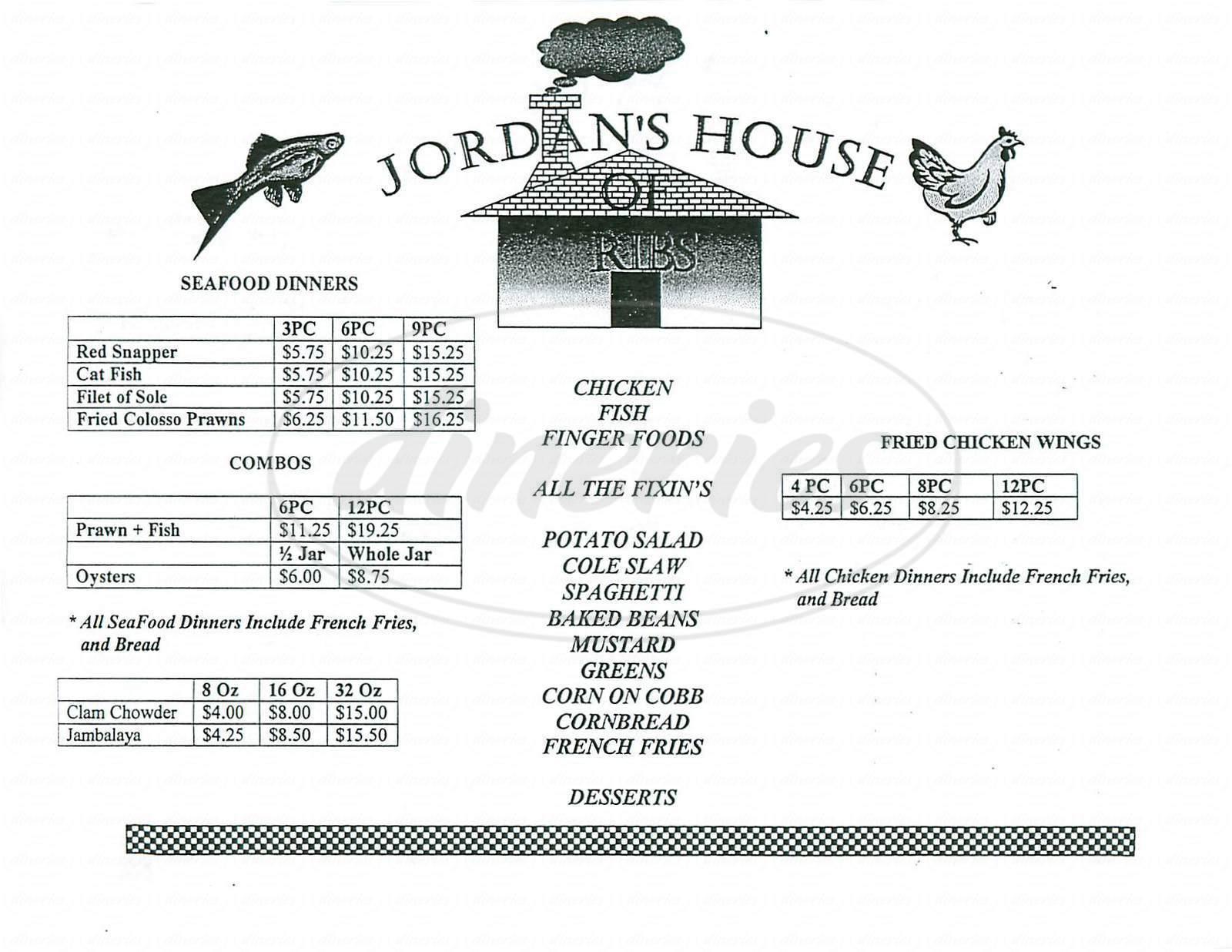 menu for Jordans House of Ribs