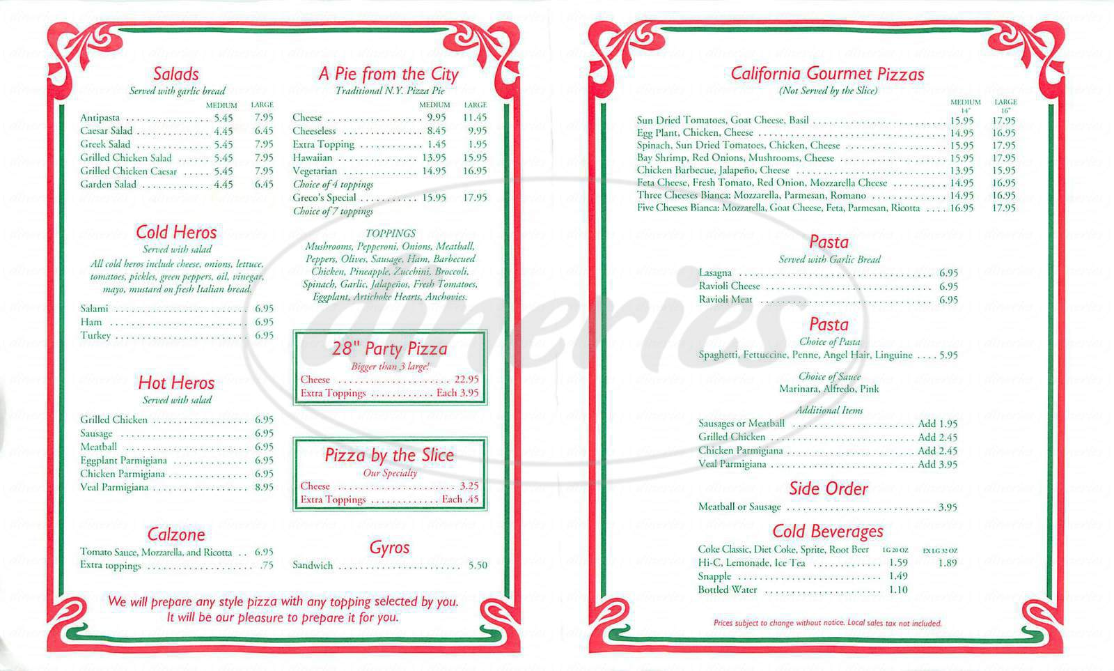 menu for Greco's New York Pizzeria