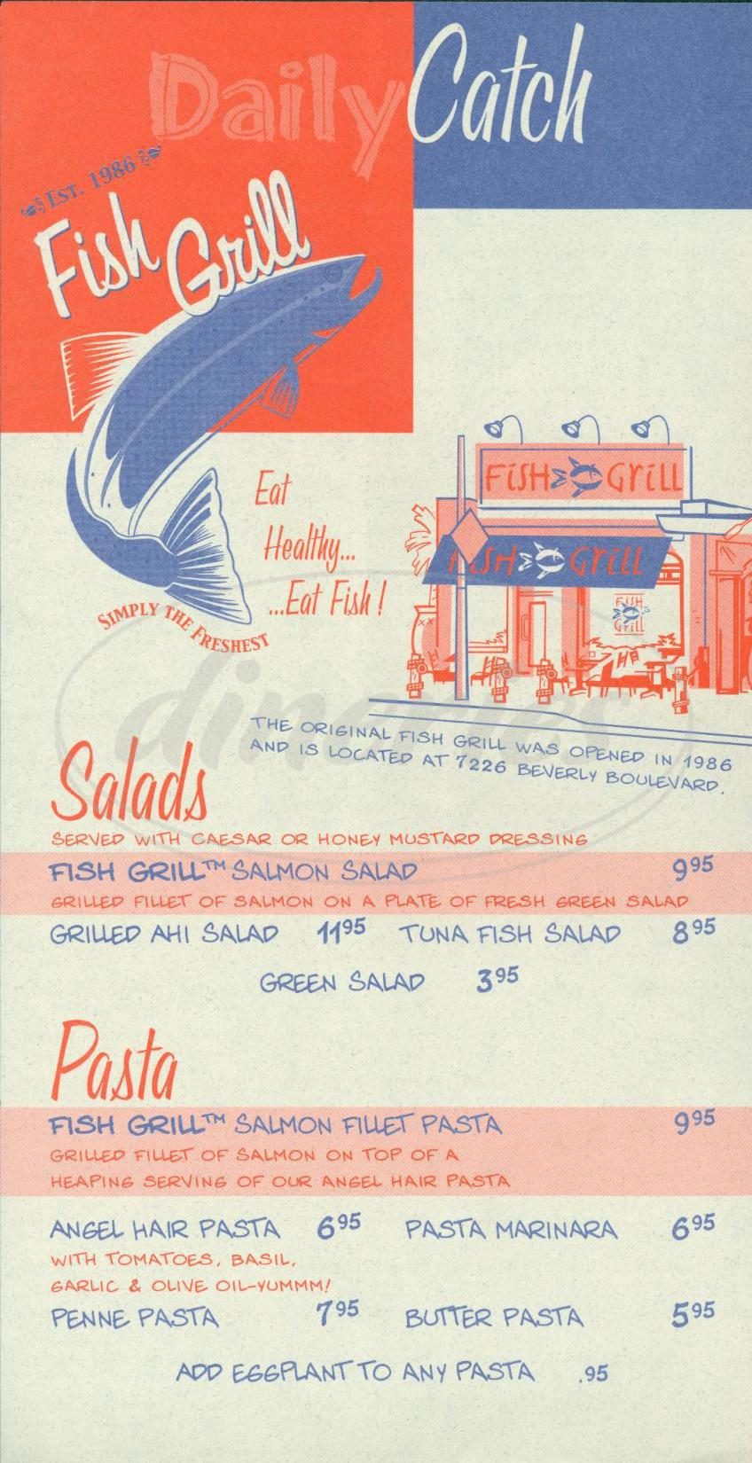 menu for Fish Grill