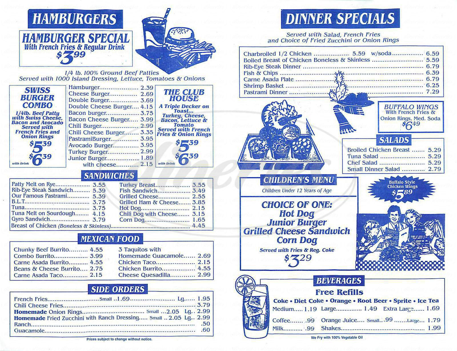 menu for Georges Burgers