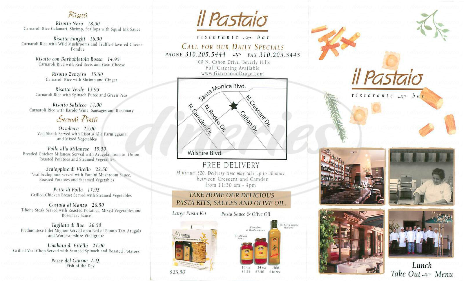menu for Il Pastaio