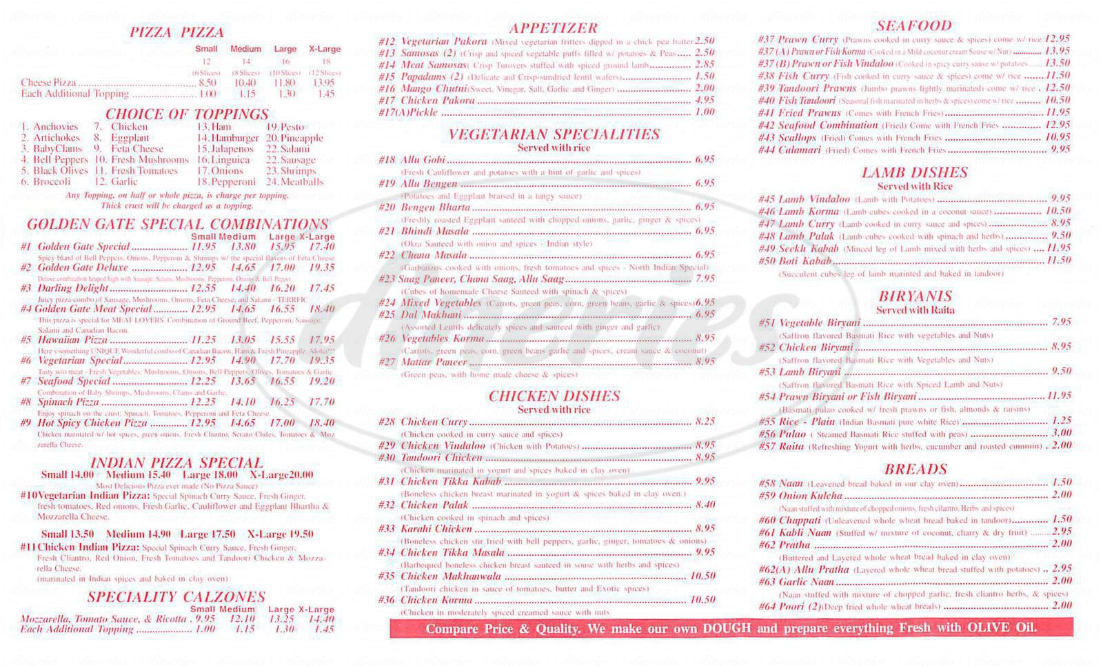 menu for Golden Gate Pizza & Indian Cuisine