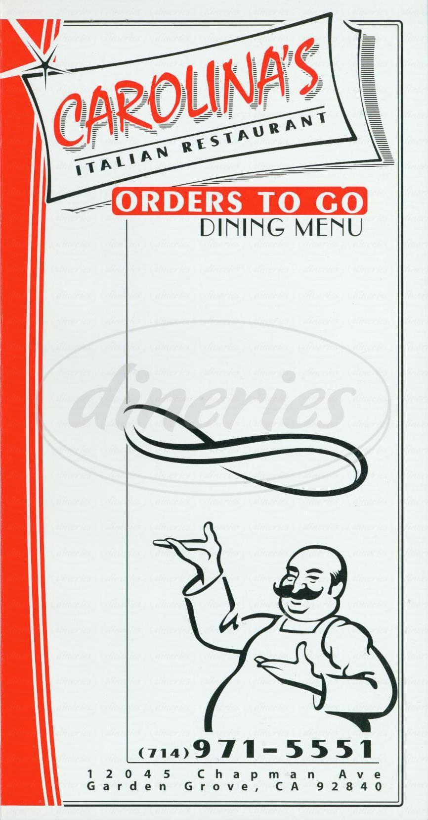 menu for Carolinas Italian Cuisine