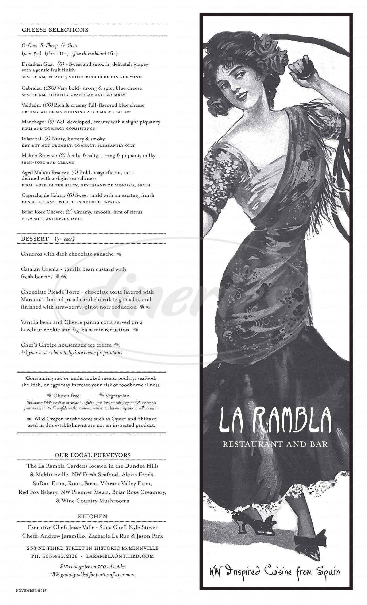 menu for La Rambla Restaurant & Bar