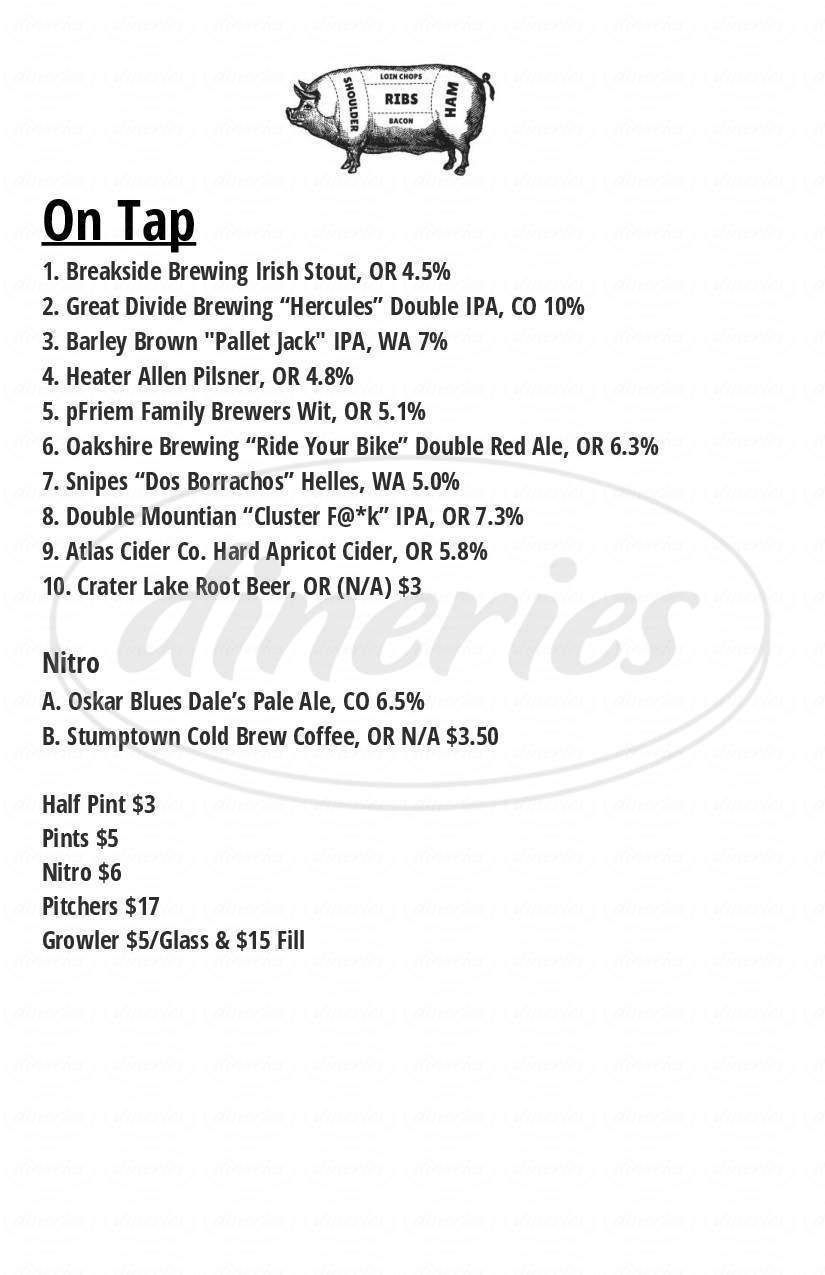 menu for Lardo Downtown