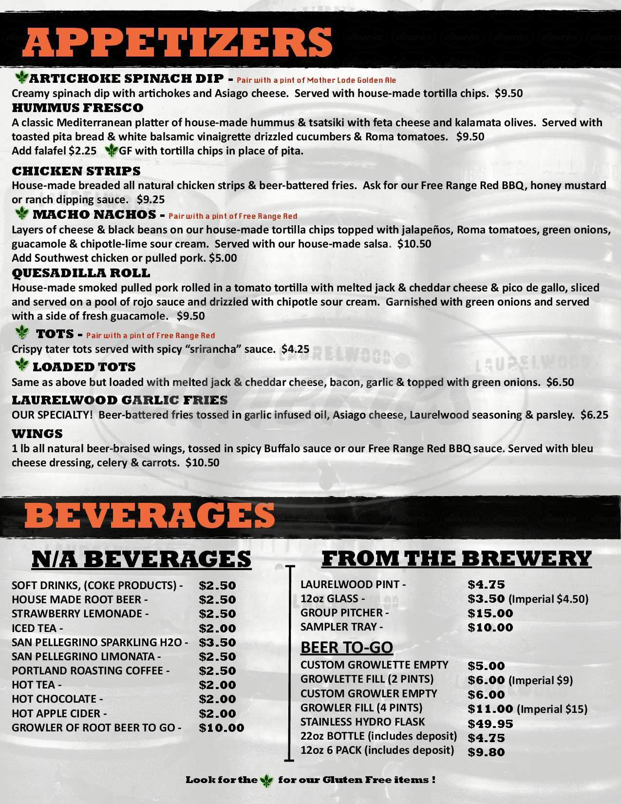 menu for Laurelwood Brewing Co