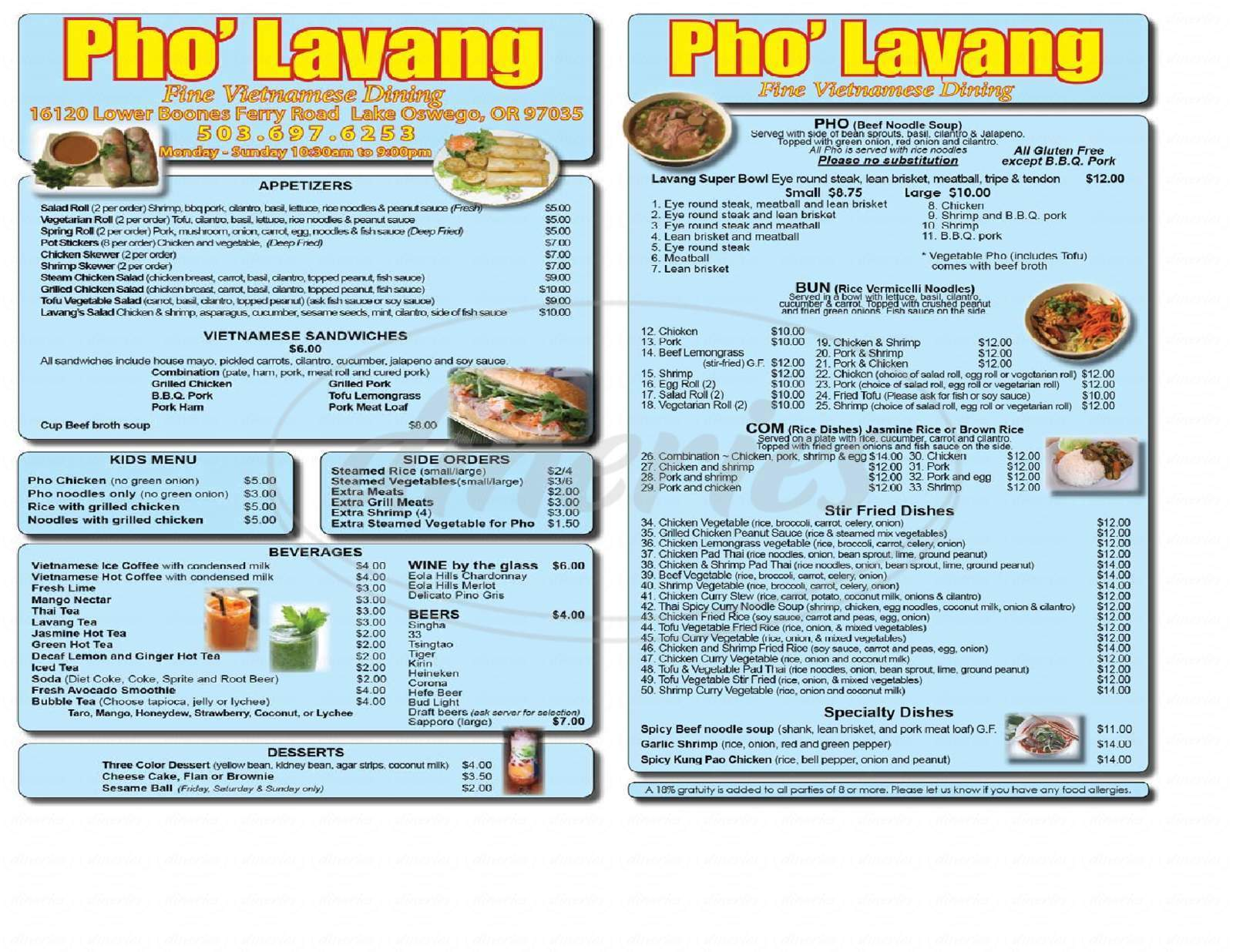 menu for La Vangs Restaurant