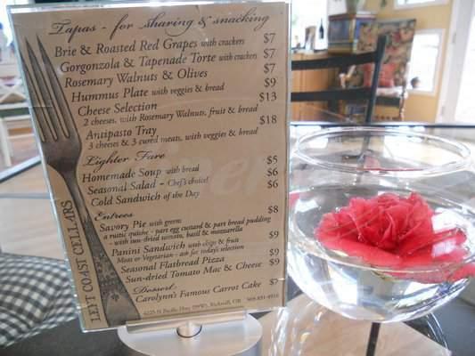 menu for Left Coast Cellars