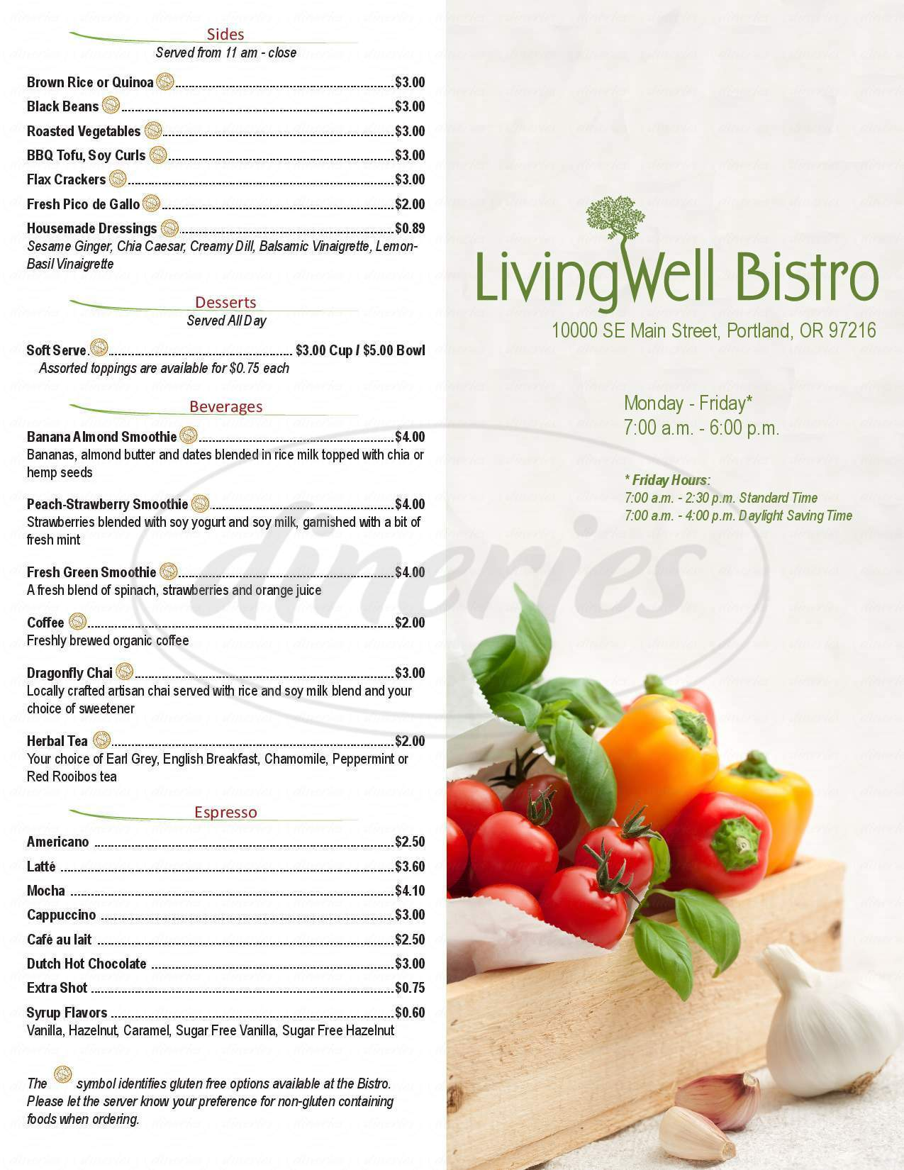 menu for Living Well Bistro