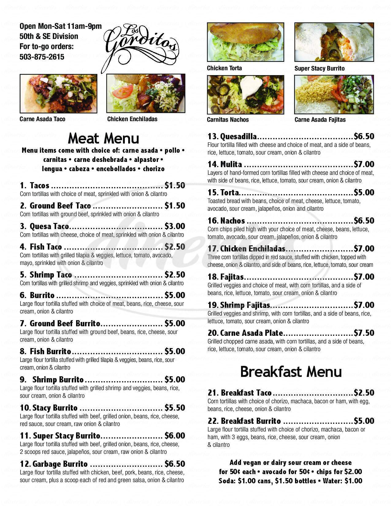 menu for Taqueria Los Gorditos