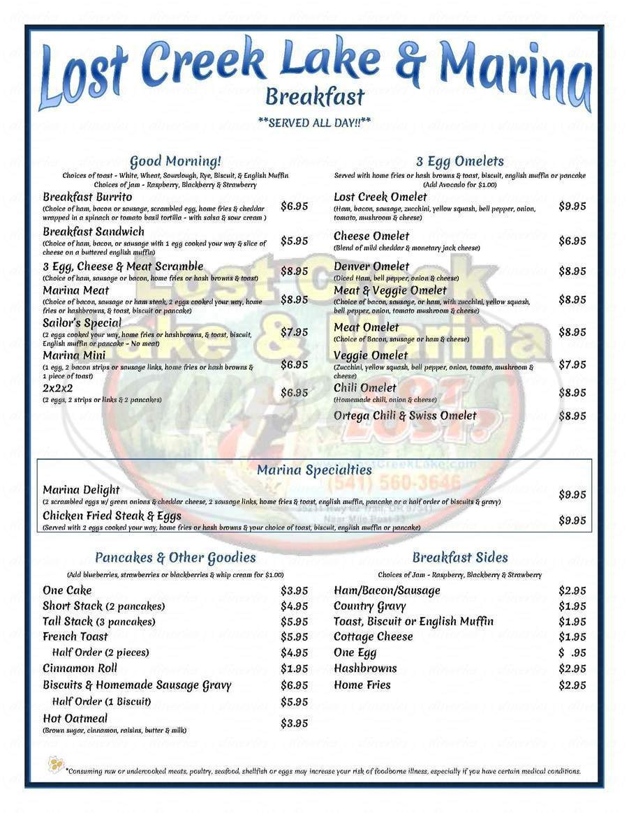 menu for Lost Creek Marina & Cafe