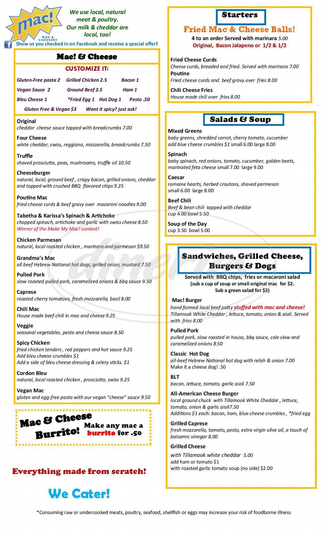 menu for Mac! Mac & Cheesery