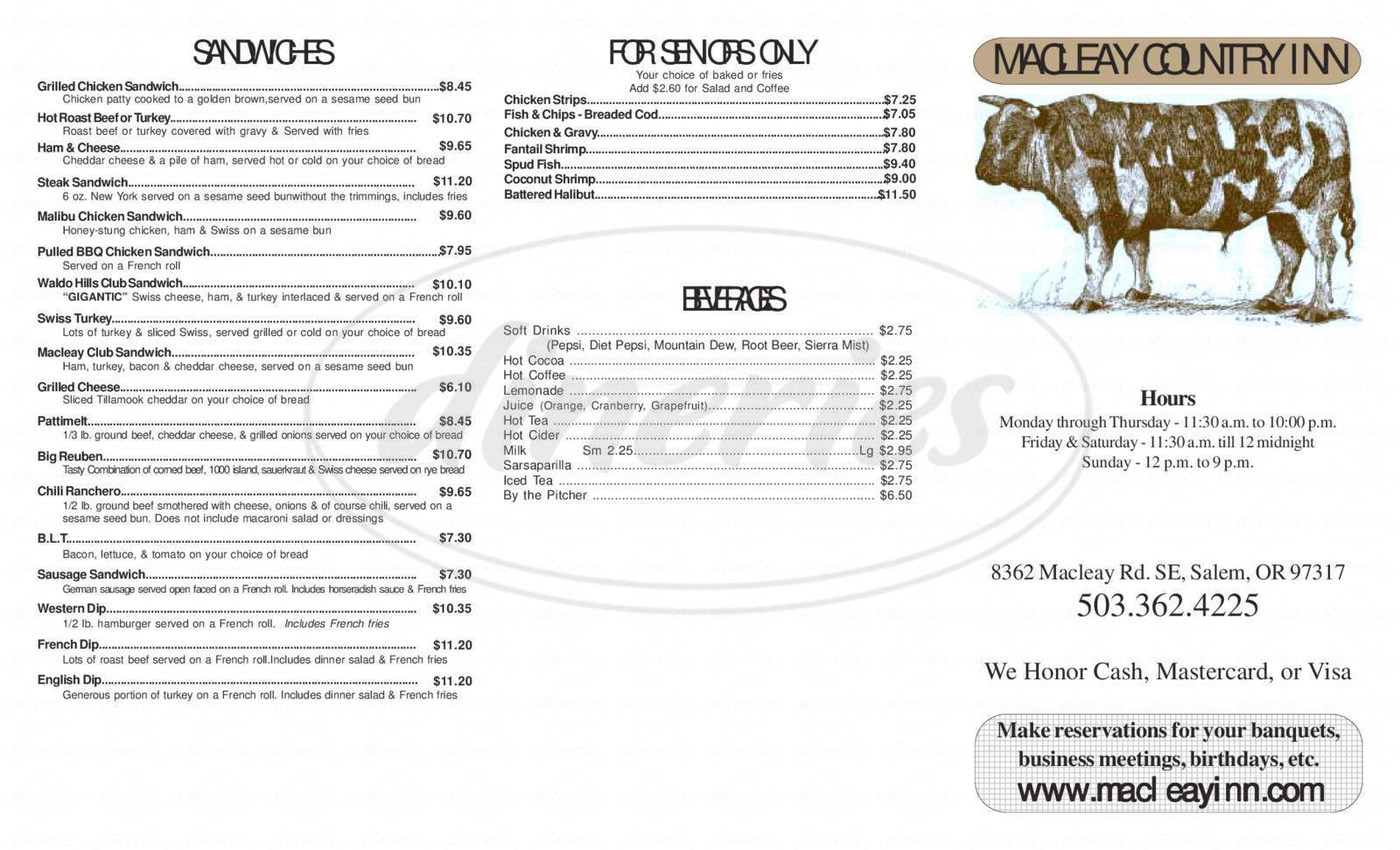 menu for MacLeay Country Inn