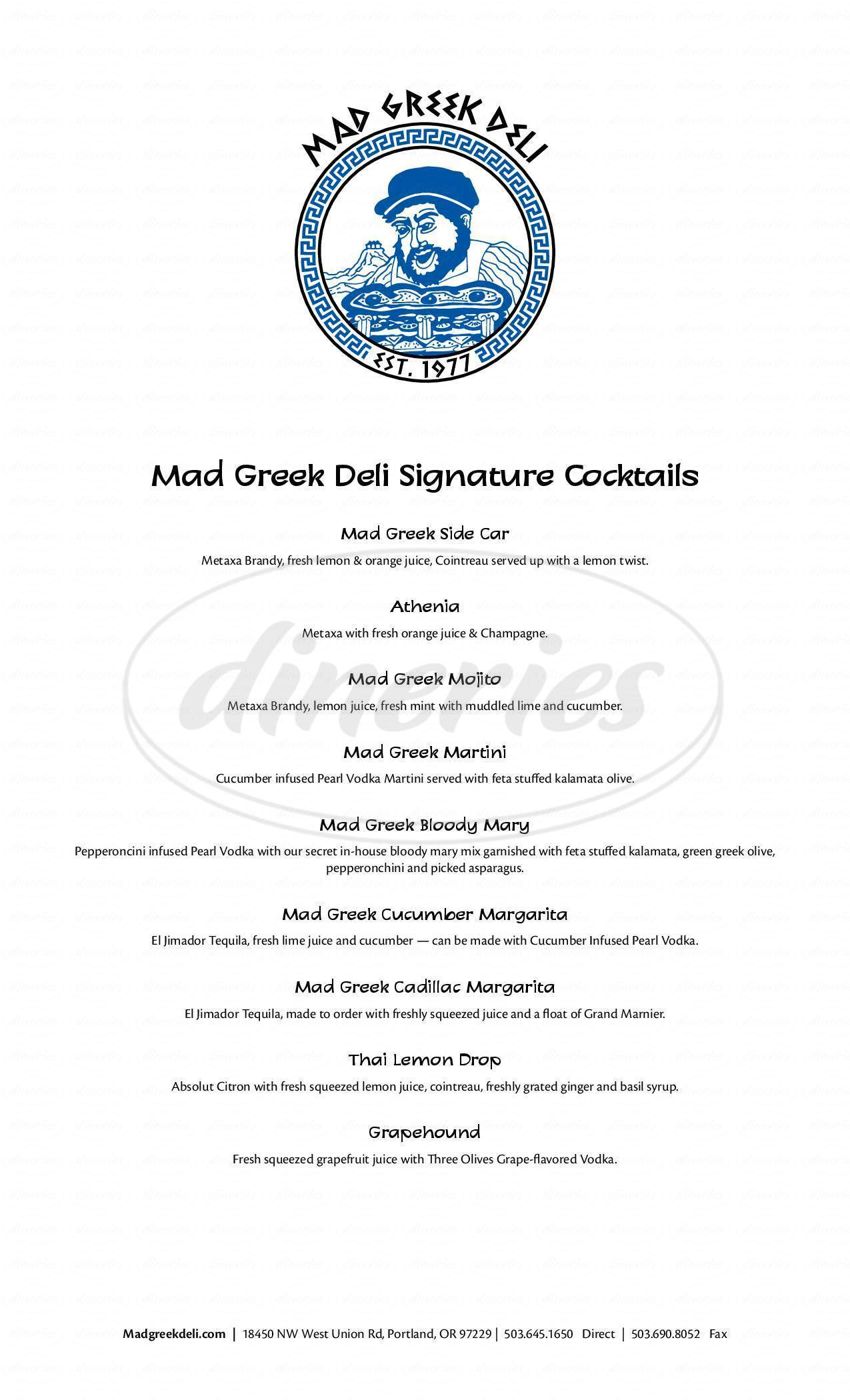 menu for Mad Greek Deli