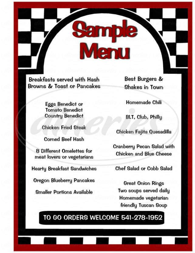 menu for Main Street Diner