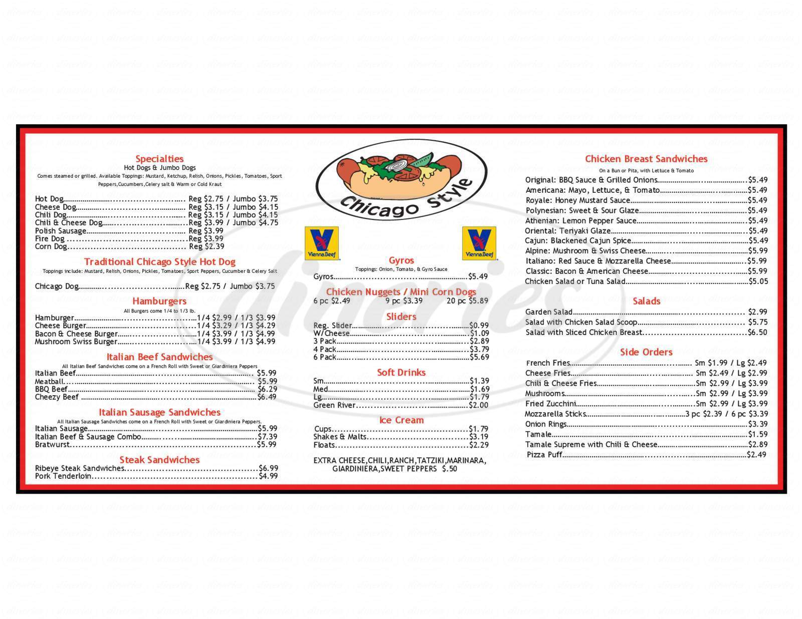 menu for Chicagoland Hotdogs & More