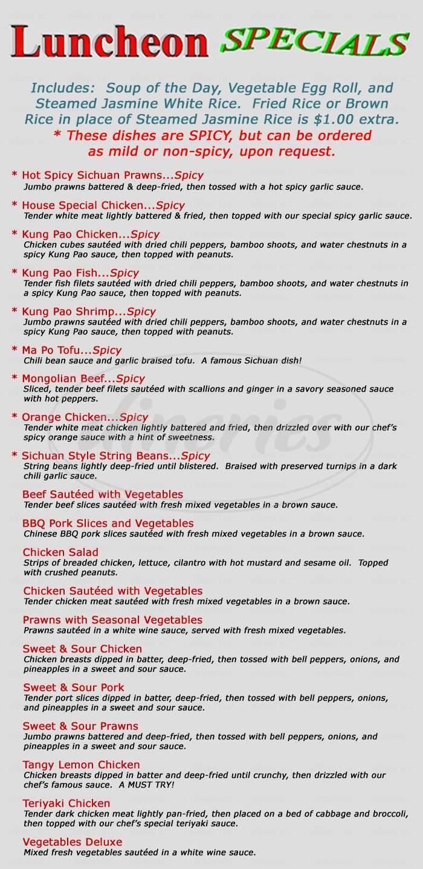 menu for China Chili