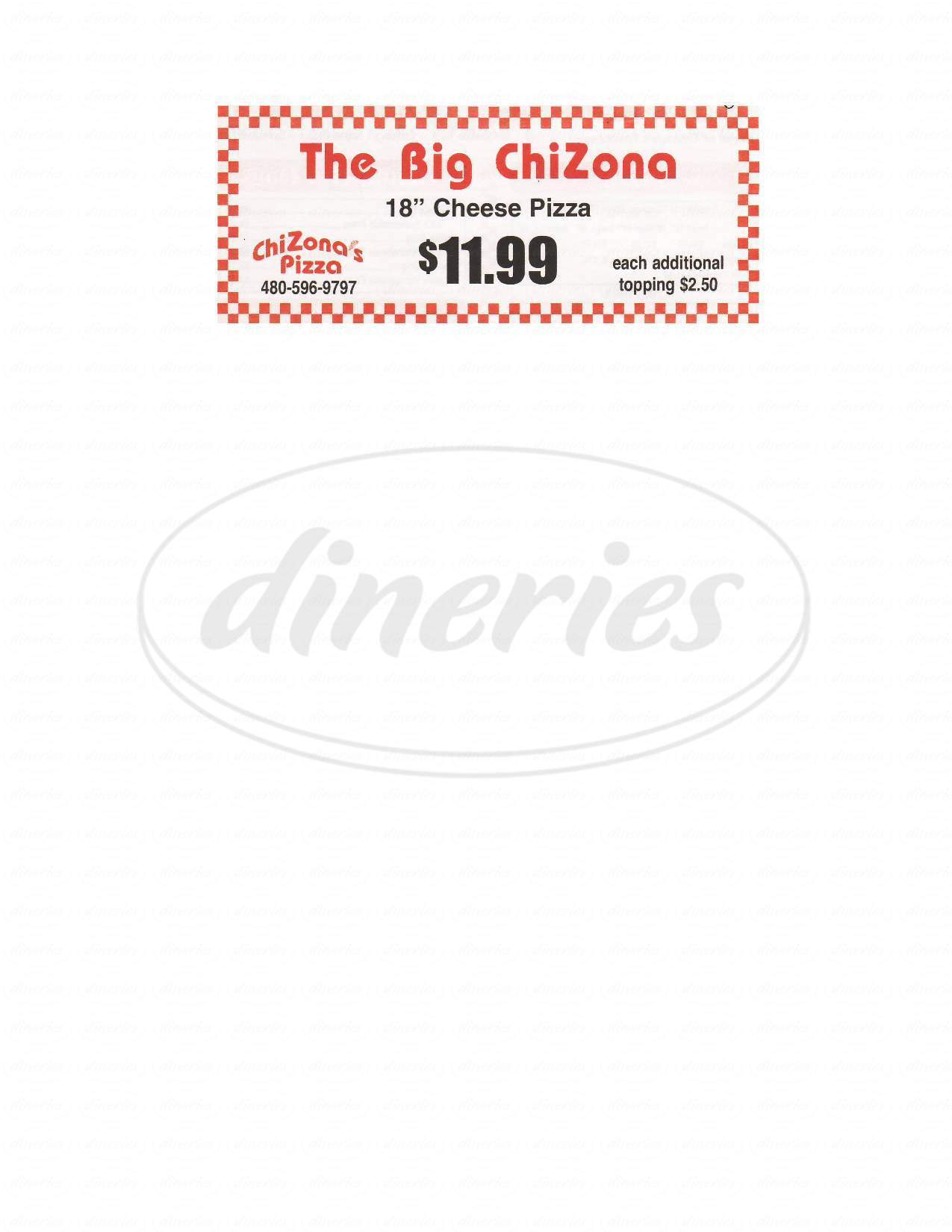menu for Chizona's Pizza