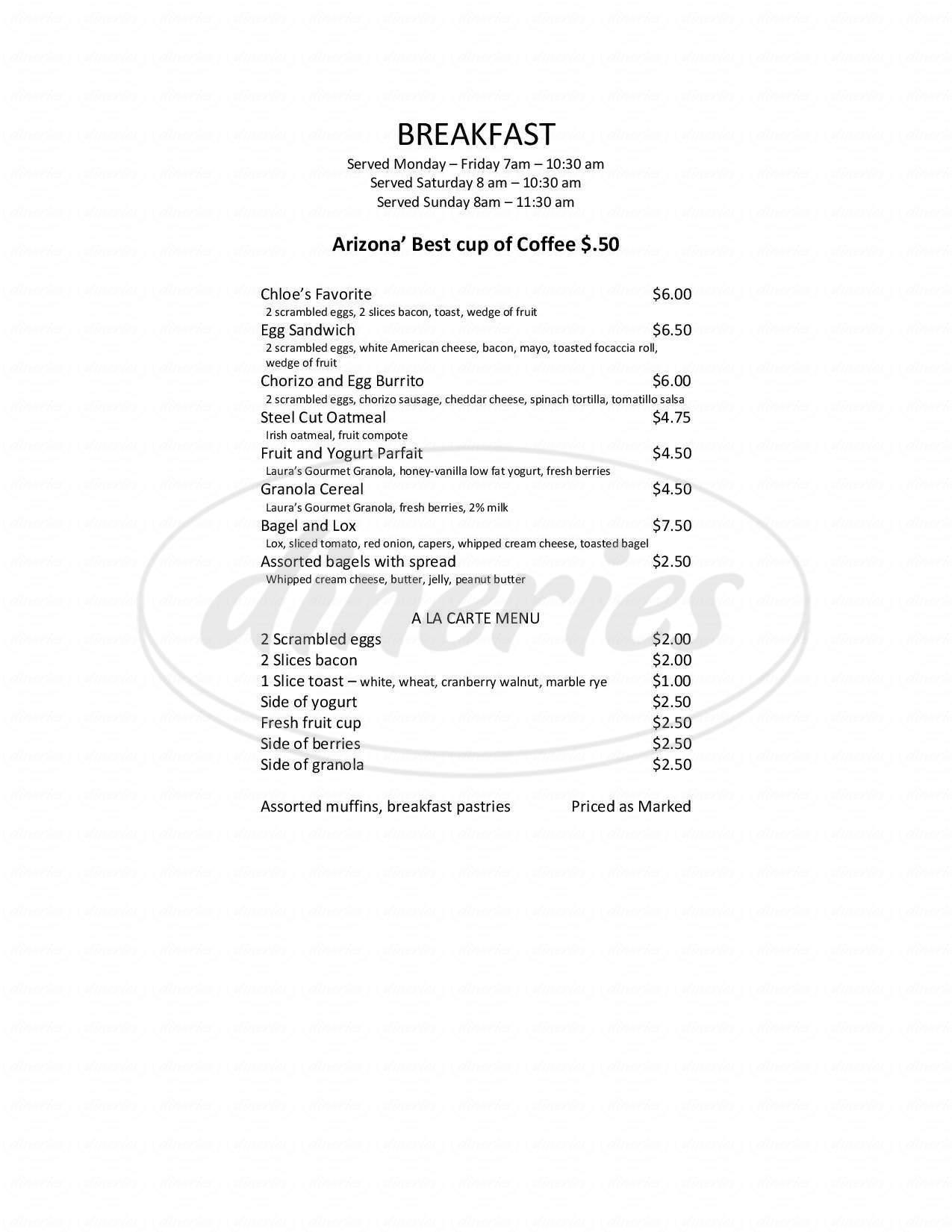 menu for Chloe's Corner