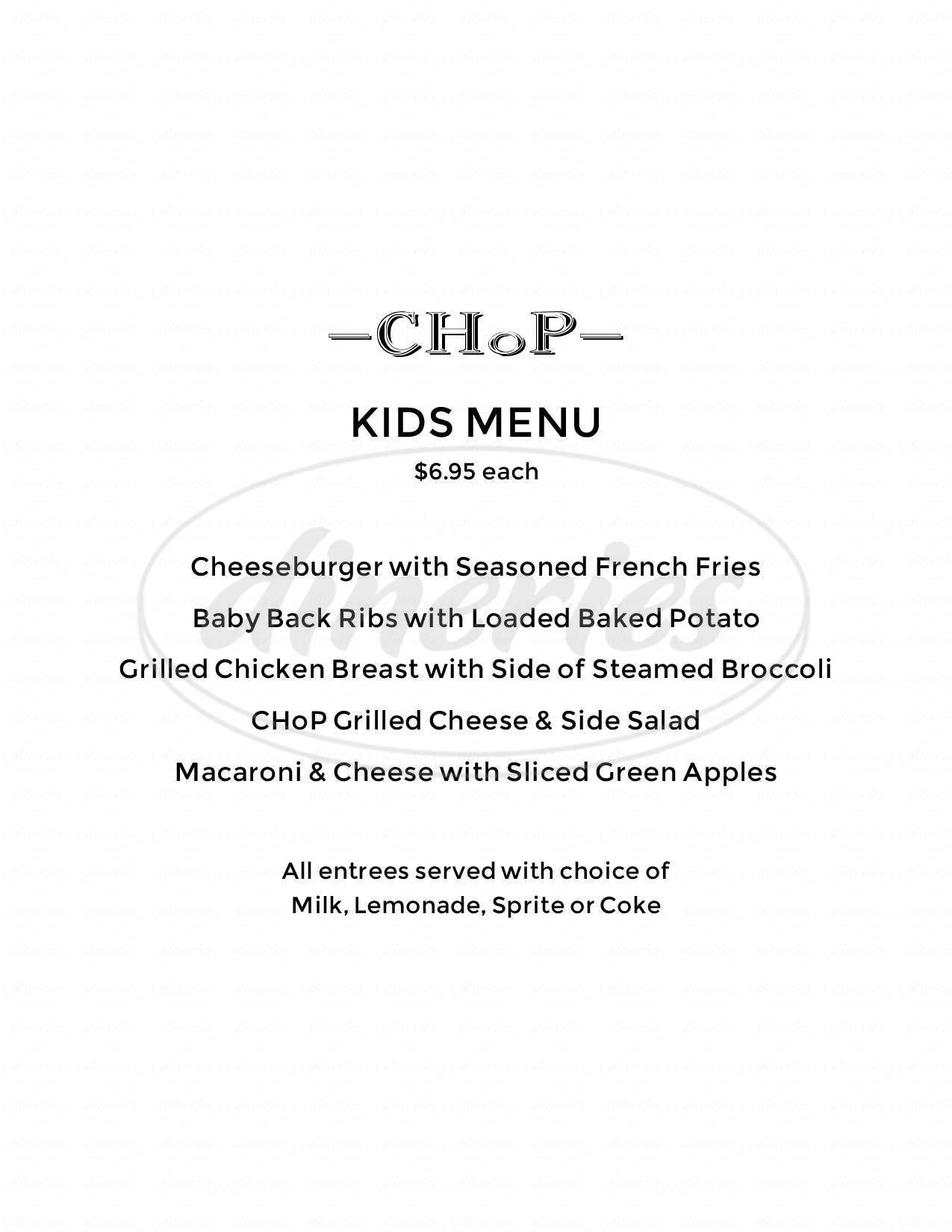 menu for Chop Chandler