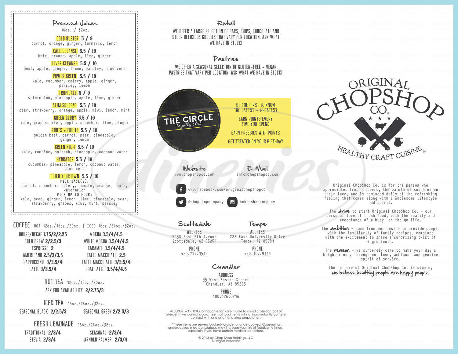 menu for Original ChopShop Co.