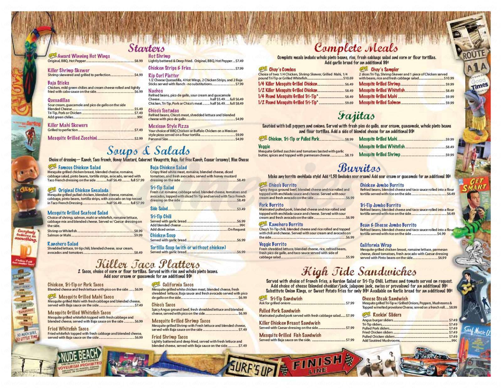 menu for Chuy's Mesquite Broiler