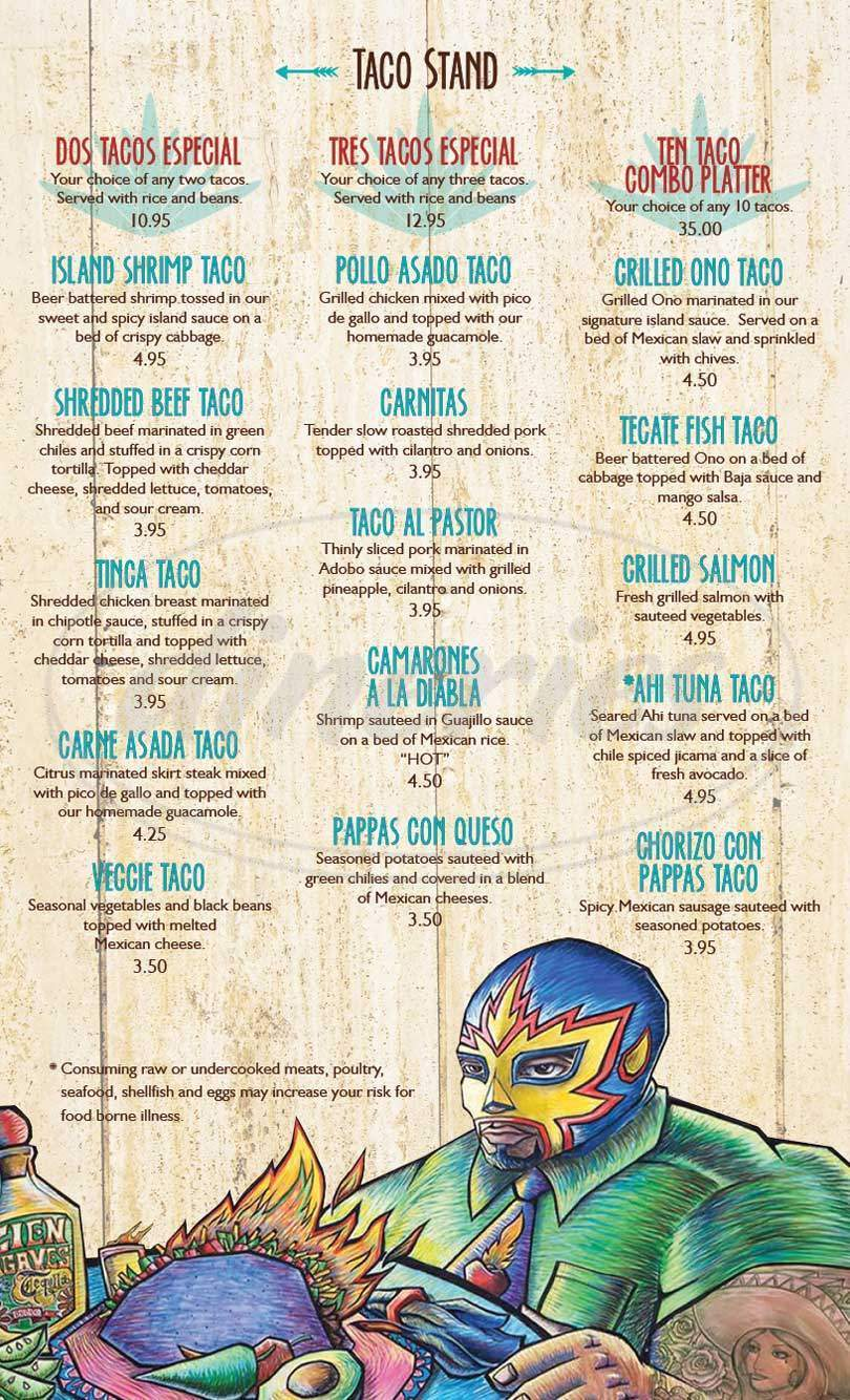 menu for Cien Agaves Tacos & Tequila