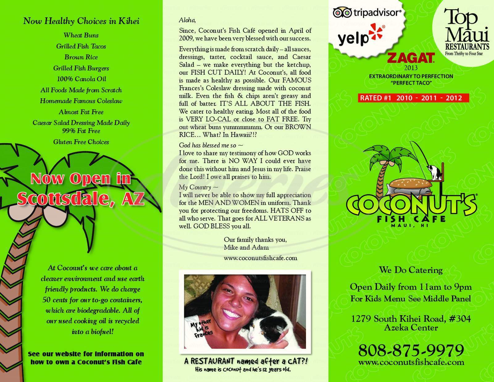 menu for Coconut's Fish Cafe