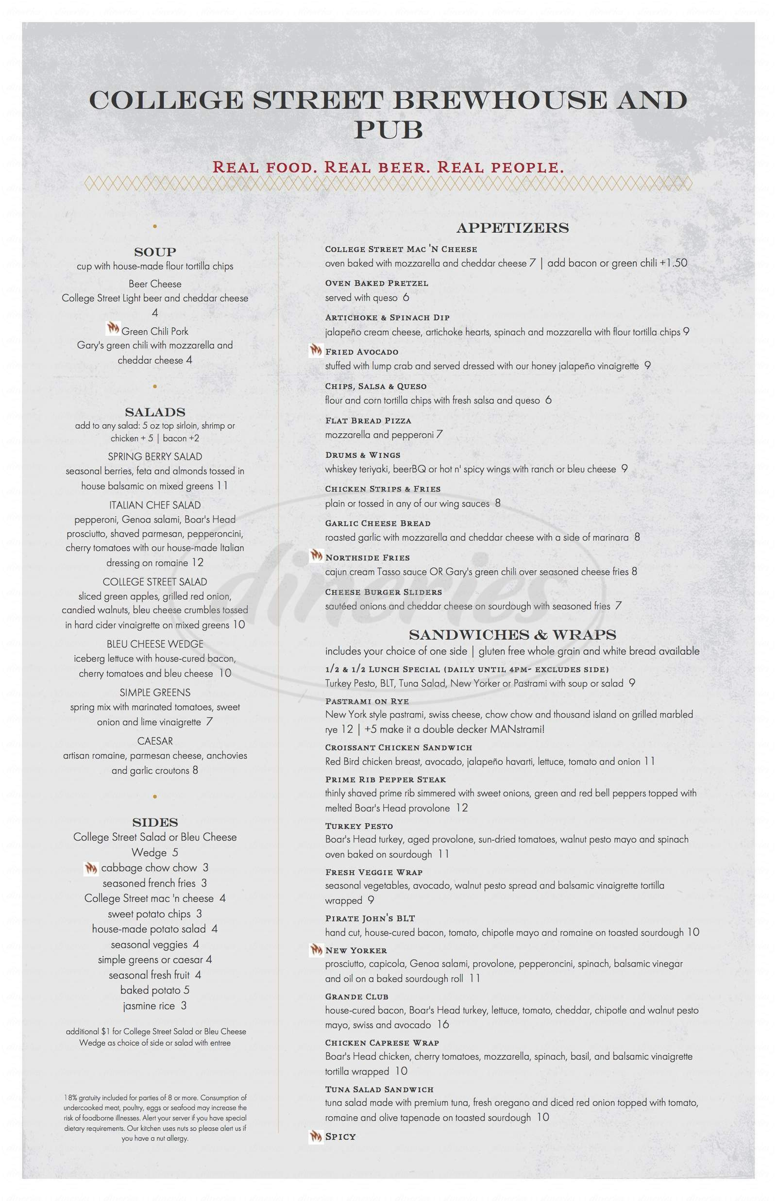 menu for College Street Brewhouse & Pub